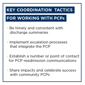 Graphic depicting the key coordination tactics for working with primary care physicians